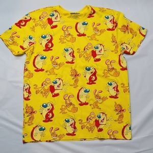 Ren & Stimpy Shirt Nickelodeon Yellow All Over